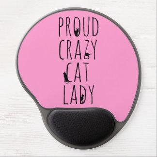 Señora loca orgullosa del gato alfombrilla gel