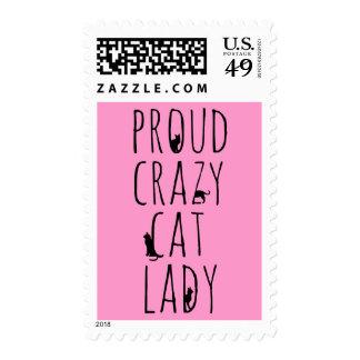 Señora loca orgullosa del gato sellos