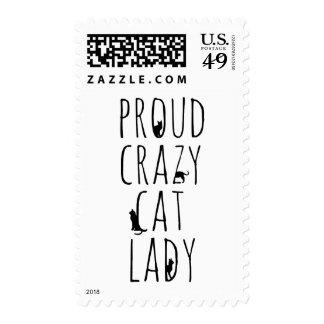 Señora loca orgullosa del gato sello