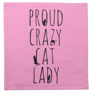 Señora loca orgullosa del gato servilleta de papel