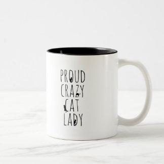 Señora loca orgullosa del gato tazas