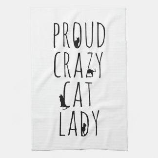 Señora loca orgullosa del gato toallas de mano
