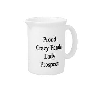 Señora loca orgullosa Prospect de la panda Jarra Para Bebida