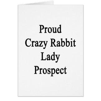 Señora loca orgullosa Prospect del conejo Tarjeta De Felicitación