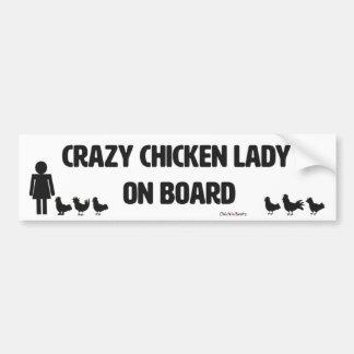 Señora loca pegatina para el parachoques del pollo pegatina para auto