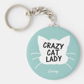 Señora loca personalizada del gato - el azul más w llavero
