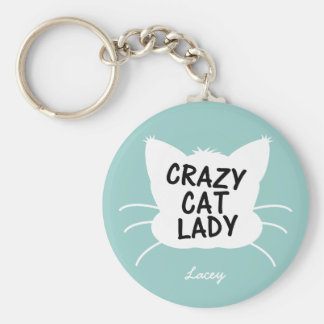 Señora loca personalizada del gato - el azul más w llavero redondo tipo pin
