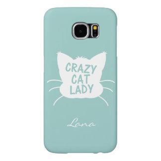 Señora loca personalizada del gato en el azul de funda samsung galaxy s6