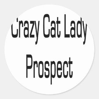 Señora loca Prospect del gato Etiquetas Redondas