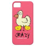 Señora loca ROSADA Cartoon Hen del pollo iPhone 5 Case-Mate Protector
