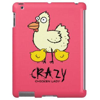 Señora loca ROSADA Cartoon Hen del pollo Funda Para iPad