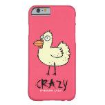 Señora loca ROSADA Cartoon Hen del pollo Funda De iPhone 6 Barely There