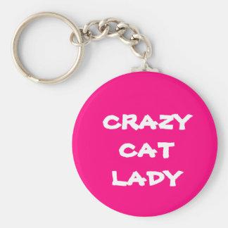 Señora loca rosada Keychain del gato Llaveros