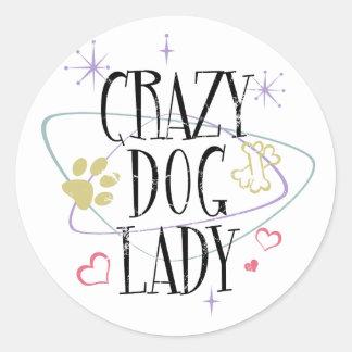 Señora loca Round Sticker del perro del estilo Pegatina Redonda