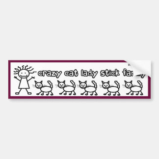 Señora loca Stick Family Funny Cartoon del gato Pegatina Para Auto