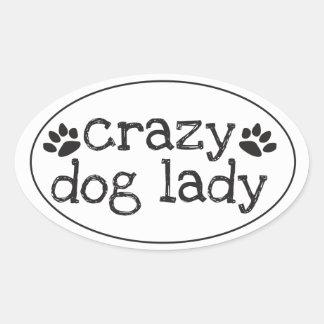 Señora loca Sticker del perro Pegatina Ovalada