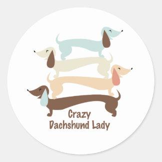 Señora loca Stickers del Dachshund Pegatina Redonda