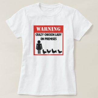 Señora loca T-Shirt del pollo Poleras