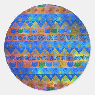 Señora loca TRIBAL GALÁCTICA Aztec Pattern del Etiquetas Redondas