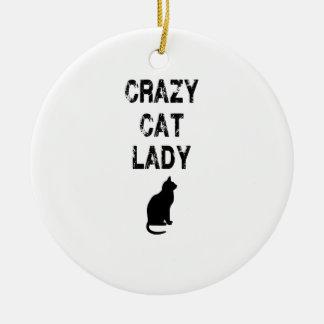 Señora loca vertical Design del gato Adorno Navideño Redondo De Cerámica