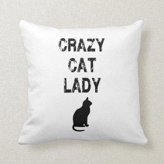 Señora loca vertical Design del gato Cojin