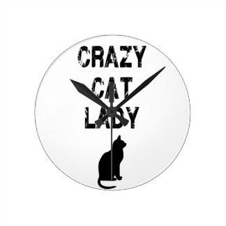 Señora loca vertical Design del gato Reloj