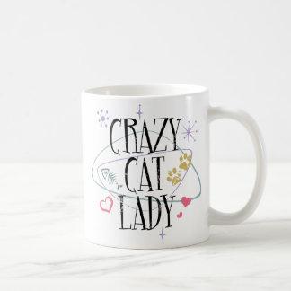 Señora loca Vintage del gato Tazas De Café