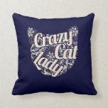 Señora loca Vintage Kitty del gato Almohadas