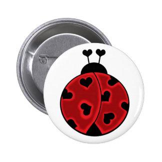 Señora Love Bug Button Pin Redondo De 2 Pulgadas