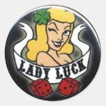 Señora Luck Etiquetas Redondas