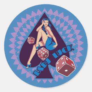 Señora Luck Pegatina Redonda