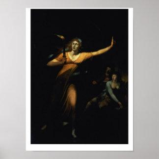 Señora Macbeth Sleepwalking, 1783 (aceite en lona) Póster