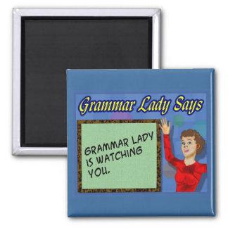 Señora Magnets de la gramática Imán Cuadrado