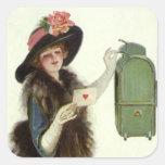 Señora Mail Letter del Victorian del el día de San Pegatinas Cuadradas Personalizadas