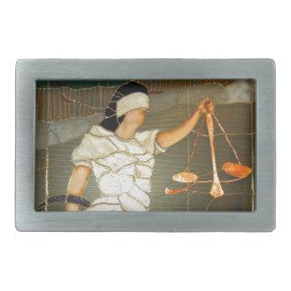 Señora majestuosa Justice en diseño del vitral Hebillas Cinturón Rectangulares