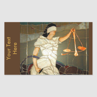 Señora majestuosa Justice en diseño del vitral Pegatina Rectangular