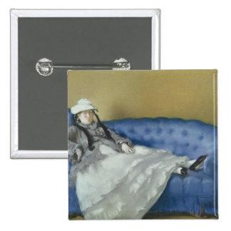 Señora Manet en un sofá azul, 1874 Pin Cuadrado