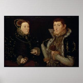 Señora Maria Nevill y su hijo Gregory Fiennes Impresiones