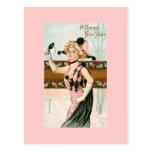 Señora Masquerade de las postales del vintage de l