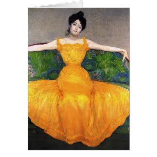 Señora máxima de Kurzweil- en vestido amarillo Tarjetón