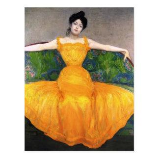 Señora máxima de Kurzweil- en vestido amarillo Tarjetas Postales