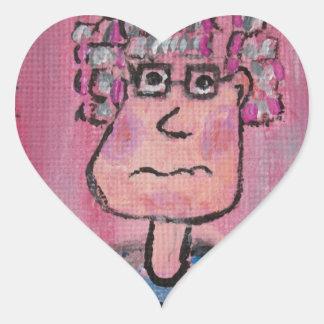Señora mayor pegatina en forma de corazón