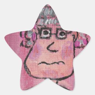 Señora mayor pegatina en forma de estrella