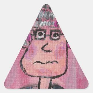 Señora mayor pegatina triangular