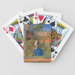 Señora medieval en rosaleda baraja de cartas