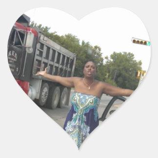 Señora Meme de la rabia del camino Pegatina En Forma De Corazón