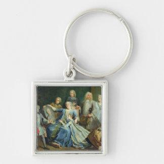 Señora Mercier Surrounded de su familia, 1731 Llavero Cuadrado Plateado