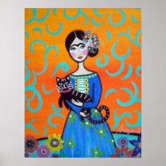 Señora mexicana día del gato de la pintura muerta poster