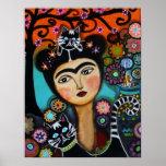 Señora mexicana día del gato de la pintura muerta posters