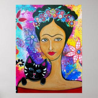 Señora mexicana y su poster del gato